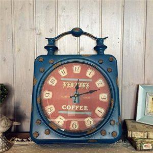 SDFN-Style américain bleu rétro fer en Difficulté industrielle vent silencieux horloge de mur (sans alimentation)Cadeau de cadeau de Noël de vacances d'ami cadeau de la marque wpw-wall clock image 0 produit