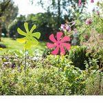 série 2 moulins à vent, déco de jardin en verre acrylique couleur fluo sur pique en métal noir mat de la marque amelex 67 image 3 produit
