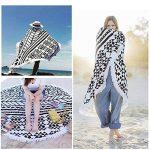 Serviette de Plage Ronde, BEECOCO Ronde Mandala Plage Serviette Coton Tapisserie Round beach towel pour La plage extérieure et la Décoration (noir) de la marque BEECOCO image 1 produit