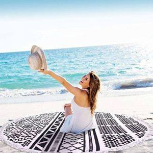 Serviette de Plage Ronde, BEECOCO Ronde Mandala Plage Serviette Coton Tapisserie Round beach towel pour La plage extérieure et la Décoration (noir) de la marque BEECOCO image 0 produit