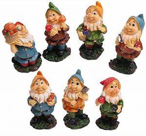 Set de mini gnomes de jardin, ensemble de mini statues des sept nains avec champignons et outils (7 pièces) de la marque WZ image 0 produit