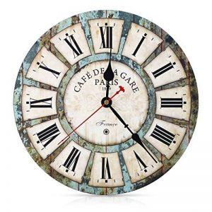 SOLEDI Horloge Pendule Murale Vintage à Quartz style Paris Horloge de bois de la marque Soledi image 0 produit