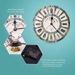 SOLEDI Horloge Pendule Murale Vintage à Quartz style Paris Horloge de bois de la marque Soledi image 3 produit