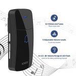 Sonnette Sans Fil, NOVETE Carillon de porte sans fil à 400 mètres de portée avec 1 bouton-émetteur et 2 récepteurs, Kit de carillon de porte étanche avec voyant LED, 52 mélodies, fonction de mémoire et 5 niveaux de volume de la marque Novete image 1 produit