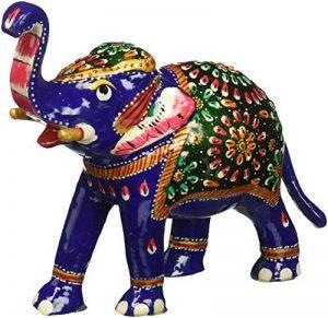 SouvNear 16,2 cm Tronc Jusqu'à la Sculpture Bleu d'éléphant avec Meenakari de Travail - Bonne Chance éléphant Figurine / Statue - Cadeaux Feng Shui Uniques de la marque SouvNear image 0 produit