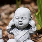 Statue 3 x Bouddha Moine de pierre, sont expédiés, au gel jusque -30 °c , en massif pierre … de la marque Stone and Style image 2 produit