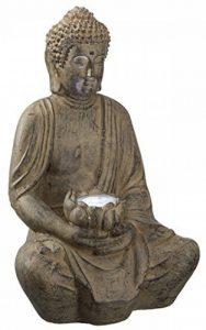 """'Statue de """"Bouddha Lotus Fleur Gris Lumineux Solaire Moderne Lignes Grand Bonheur Bouddha Imitation pierre Décoration de jardin lumière d'ambiance de la marque TFH image 0 produit"""