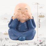 Statue de Bouddha,Walfront Moine Bouddhiste Statue de 4 Moines en Résine Statue Richesse Lucky Figurine Accueil Bébé Bouddha Décoration de Voiture Maison de la marque Walfront image 3 produit
