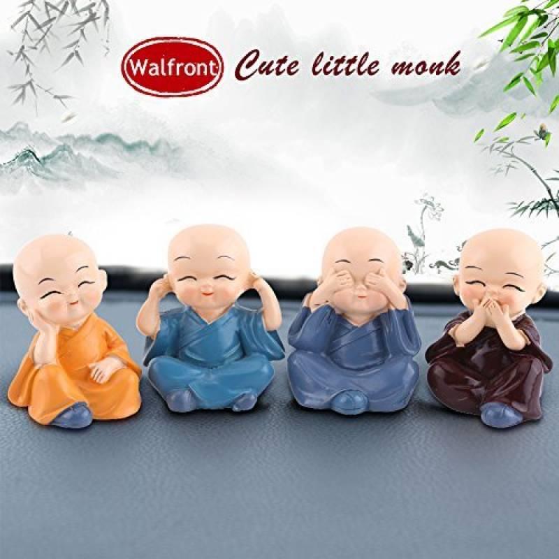 Voiture Décoration quatre Little Monk Figurines Mignon Poupée Voiture Intérieur Accessoires Y