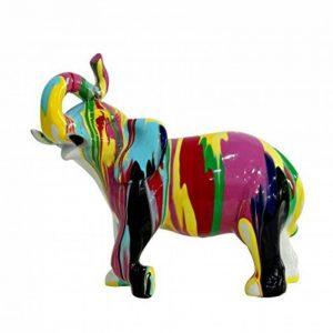 Statue éléphant décoration multicolore - style design moderne de la marque Meubletmoi image 0 produit