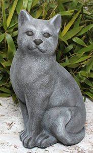 Statue en pierre chat assis, grand format, gris ardoise, pierre reconstituée de la marque Tiefes Handicraft image 0 produit