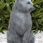 Statue en pierre chat assis, grand format, gris ardoise, pierre reconstituée de la marque Tiefes Handicraft image 1 produit
