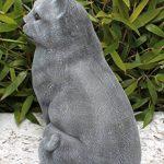 Statue en pierre chat assis, grand format, gris ardoise, pierre reconstituée de la marque Tiefes Handicraft image 2 produit