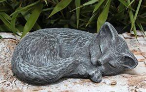 Statue en pierre chat endormi, gris ardoise, pierre reconstituée de la marque Tiefes Kunsthandwerk image 0 produit