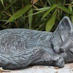 Statue en pierre chat endormi, gris ardoise, pierre reconstituée de la marque Tiefes Kunsthandwerk image 1 produit
