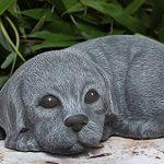 Statue en pierre chien chiot couché, gris ardoise, pierre reconstituée de la marque Tiefes Kunsthandwerk image 1 produit
