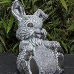 Statue en pierre lièvre assis, gris ardoise, pierre reconstituée de la marque Tiefes Kunsthandwerk image 2 produit
