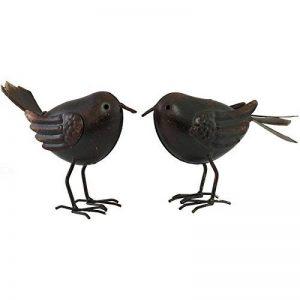 Statue Sculpture Couple d'Oiseaux Marron en Fer de Jardin de la marque chemin_de_campagne image 0 produit