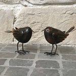 Statue Sculpture Couple d'Oiseaux Marron en Fer de Jardin de la marque chemin_de_campagne image 1 produit