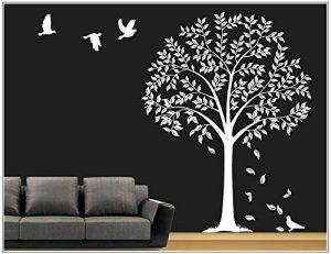 sticker mural arbre branches vrille salle de séjour,salon 40 couleurs pour le choix wbm64(010 blanc, set4:arbre ca.100x150cm (H) ) de la marque Deco-idea image 0 produit