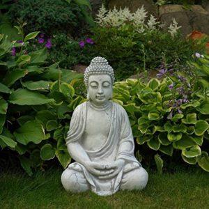Superbe Bouddha en pierre massive/béton, résistant au gel, gris, 52 cm de la marque gartendekoparadies.de image 0 produit