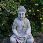 Superbe Bouddha en pierre massive/béton, résistant au gel, gris, 52 cm de la marque gartendekoparadies.de image 3 produit