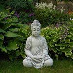 Superbe Bouddha en pierre massive/béton, résistant au gel, gris, 52 cm de la marque gartendekoparadies.de image 4 produit
