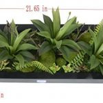 Support mural 3D Fleurs Artificielles Succulente plantes mousse sur la pierre feuilles vert herbe Fougères avec cadre forme vase Décoration Murale, 20x 55cm de la marque Artificial Flower-Wall Hanger image 3 produit