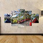 Tableau Tableaux sur toile Pont De Jardin Japonais Et De Cerisiers Image sur toile - Images - Photo - Poster - Impression - déco murale de la marque islandburner image 1 produit