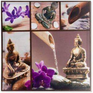 Tableau toile zen Bouddha et orchidées - 50 x 50 cm de la marque AVENUELAFAYETTE image 0 produit