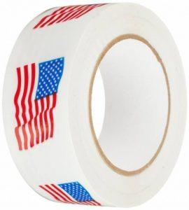 tapecase 150sp-23Carton Blanc Imprimé Ruban d'étanchéité avec logo rouge/bleu–Drapeau Américain–5,1cm x 110yds (1rouleau) de la marque TapeCase image 0 produit