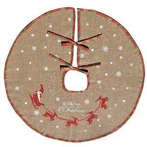 """Tapis cache-pied de sapin de Noël Amajoy en toile de jute avec flocons de neige blancs - Décoration de fête, motif écossais rouge et vert, 48"""" de la marque AmaJOY image 0 produit"""