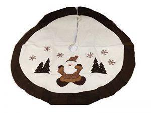 Tapis sapin Noël en feutrine décorée D90cm - Marron et blanc de la marque Féérie Lights&Christmas image 0 produit