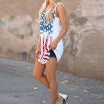 Tefamore Femmes Impression Drapeau américain sexy Culotte sans réservoir sans manches Tops de la marque Tefamore image 4 produit