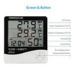 Thermomètre Intérieur Extérieur TH01S avec Sonde Hygromètre Alarme Digital Ércran LCD Affichage avec Température Humidité Date Idéal pour Maison Jardin Bureau Chambre Bébé - Câble 3m de la marque VADIV image 3 produit