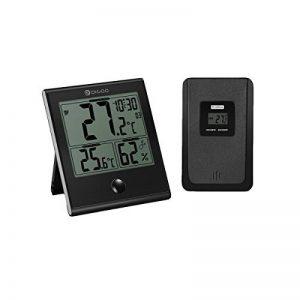 Thermomètre numérique intérieur/extérieur, DIGOO TH-1180 l'hygromètre , Température humidité, Fonction d'alarme de l'horloge, Verre Panneau Grand écran LCD, Imperméable à l'eau et anti-rayures Noir de la marque DIGOO image 0 produit