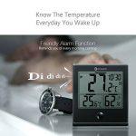 Thermomètre numérique intérieur/extérieur, DIGOO TH-1180 l'hygromètre , Température humidité, Fonction d'alarme de l'horloge, Verre Panneau Grand écran LCD, Imperméable à l'eau et anti-rayures Noir de la marque DIGOO image 2 produit