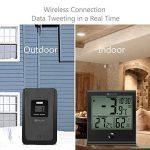 Thermomètre numérique intérieur/extérieur, DIGOO TH-1180 l'hygromètre , Température humidité, Fonction d'alarme de l'horloge, Verre Panneau Grand écran LCD, Imperméable à l'eau et anti-rayures Noir de la marque DIGOO image 3 produit