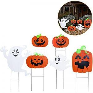 Tinksky Halloween Yard signer Ensemble, citrouille Ghost Spooky Jardin Pelouse Sign Drapeau Décoration avec piquet Halloween extérieur accessoire de 6pcs de la marque Tinksky image 0 produit