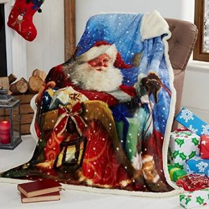 Tony's Textiles - Couverture en polaire douce - motif père Noël sur son traineau - 125 x 155cm de la marque Tony's Textiles image 0 produit
