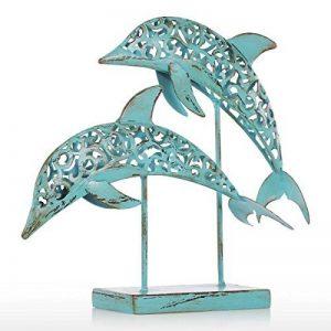Tooarts Deux dauphins bleu fer Statue fait main Statue Design ornement Retro Marine Life Retro Effect de la marque Tooarts image 0 produit