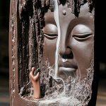 Très Rare 100% Handcrafted Zen Jardin Romance En Céramique Budda Statue Backflow Refoulement Encens Encensoir Cône Brûleur Titulaire Cascade Artware Home Ornement avec 10 pcs Cônes D'encens Set 27x11 cm de la marque Domii.Home image 3 produit