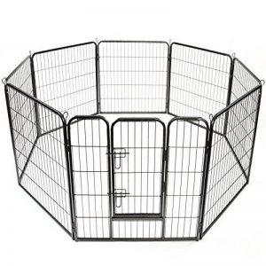 TRESKO® Parc enclos pour chiot, Vaste enclos, Parc à chien, utilisable en dehors, au jardin ou dans la maison, pour Chiens Chiots Animaux de compagnie, Clôture mobile pour chats et d'autres animaux de compagnie, Clapier, noir, porte inclus, périmètre de 6 image 0 produit