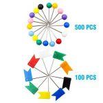 Ulable Punaises de carte, 600 pièces carte piquage avec tête en plastique et point d'acier pour carte et tableau d'affichage Liège (couleur variable) de la marque Ulable image 1 produit