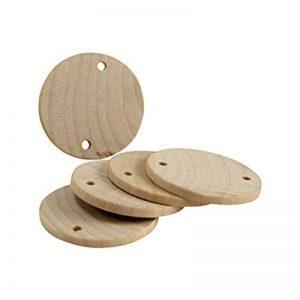 Ultnice 60pcs Bois Log tranches Disques bricolage pièces en bois rond avec trou pour table Art Craft Support pour 3.8cm de la marque ULTNICE image 0 produit
