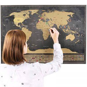 Une carte du monde à gratter avec des drapeaux XXL + BONUS une carte de Royaume-Uni (format A4) ! - Une affiche personnalisée du traqueur de voyage- souvenez-vous et partagez les mémoires de vos aventures. | Un design unique fait par ENNO VATTI (Noir | 84 image 0 produit