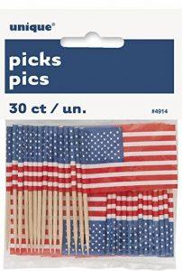 US Drapeau américain pour cupcakes, Lot de 30 de la marque Unique Party image 0 produit