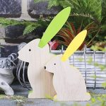 Valery Madelyn Measures 20cm/14.8 cm Set of 2 Gentle spring easter bunny rabbit figure easter wooden figure table decoration garden decoration deco figure brown green yellow with painting de la marque Valery Madelyn image 1 produit