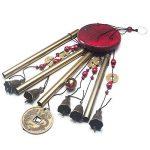 Vent Chimes Bronze Métal Vent Charms 4 Tubes 5 Bells Carillons 60cm long approx, Carrousels de vent pure à la main pour Garden Home Outdoor Garden Ornaments de la marque MIRX image 1 produit