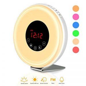 [Version Améliorée 2018] Eveil Lumière Lampe de Réveil Réveil Lumière Wake Up Lumière Veilleuse lumière du Jour Réveil avec Lever du Soleil et Coucher de soleil Fonction snooze Lampe Réveil Veilleuse Lumière LED Câble USB Tactile contrôle Sunrise / Sunset image 0 produit